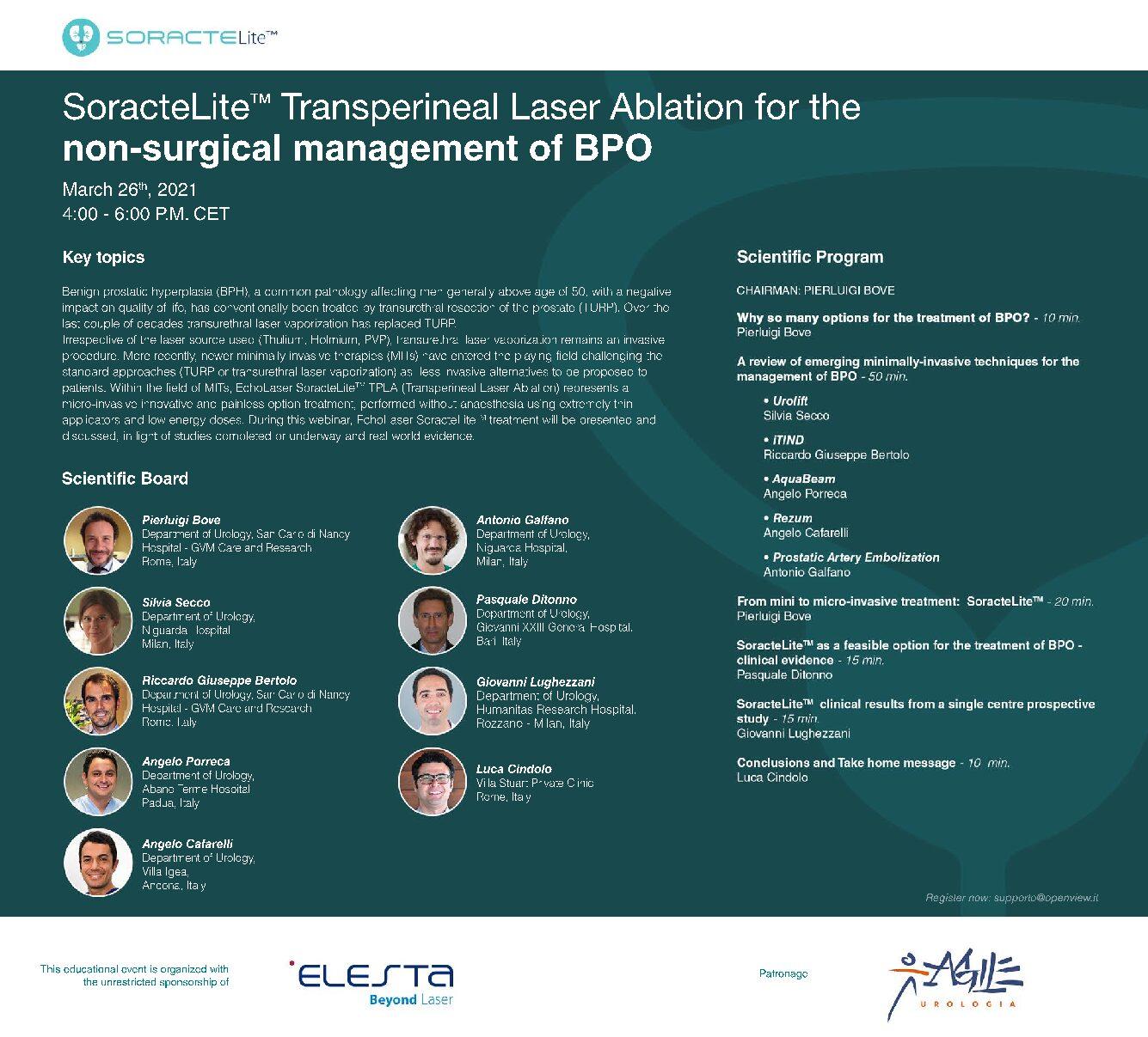 SoracteLite Transperineal Laser Ablation for the management of BPO